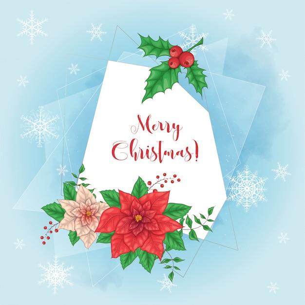 Lindo cartão de natal com coroa de flores de poinsétia e lugar para texto.