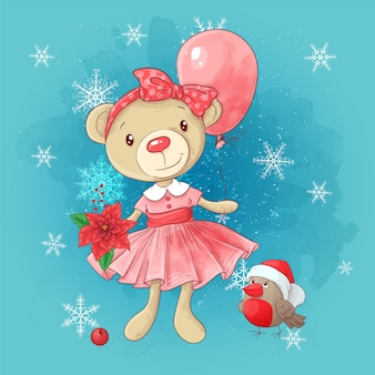 Lindo cartão de natal com desenhos animados ursinho menina e poinsétia.