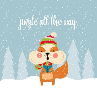 Lindo cartão de natal com esquilo cantando canções