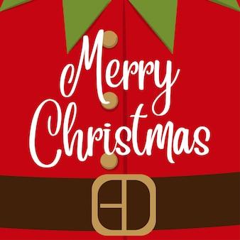 Lindo cartão de Natal com fantasia de elfo