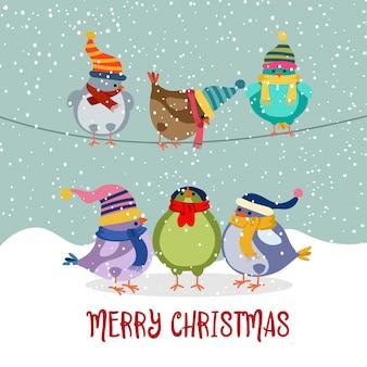 Lindo cartão de natal com pássaros