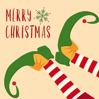Lindo cartão de natal com pernas de elfo