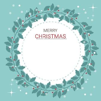 Lindo cartão de natal de azevinho ramos arco