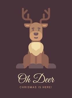 Lindo cartão de natal de rena.