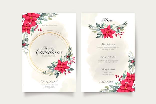 Lindo cartão de natal e modelo de menu