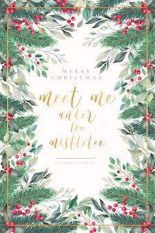 Lindo cartão de natal em aquarela com citação