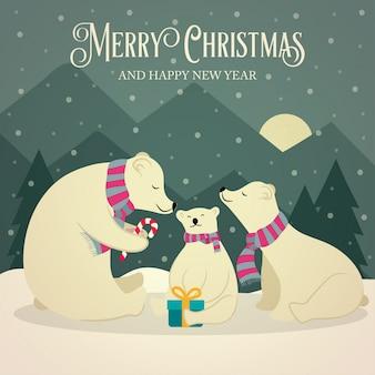 Lindo cartão de natal retrô com a família de ursos polares