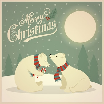 Lindo cartão de natal retrô com casal de ursos polares