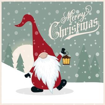 Lindo cartão de natal retrô com gnomo