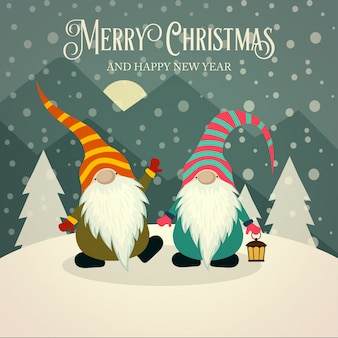 Lindo cartão de natal retrô com gnomos
