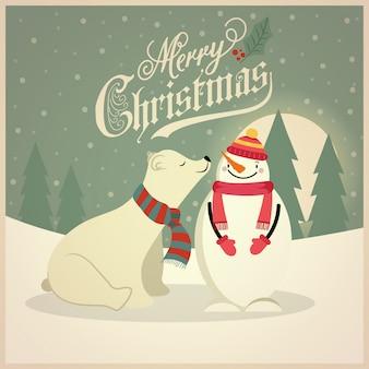 Lindo cartão de natal retrô com urso polar e boneco de neve