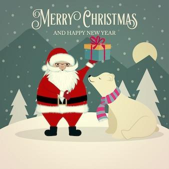 Lindo cartão de natal retrô com urso polar e papai noel