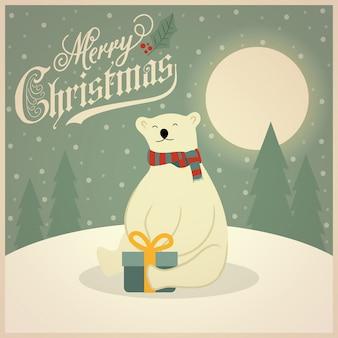 Lindo cartão de natal retrô com urso polar