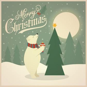 Lindo cartão de natal retrô