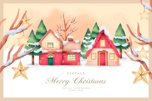 Lindo cartão de natal vintage em estilo aquarela