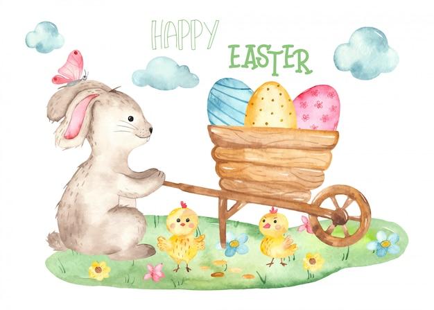 Lindo cartão de páscoa com aquarela de coelho