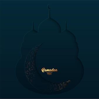 Lindo cartão de ramadan kareem em formato de mesquita