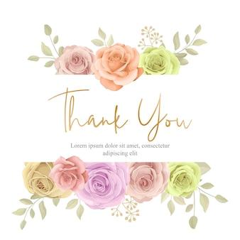 Lindo cartão de saudação com moldura floral em flor