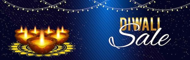 Lindo cartão de saudação de venda diwali com diya