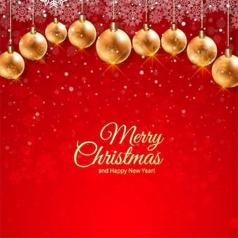 Lindo cartão festival de natal com decoração de bolas realistas