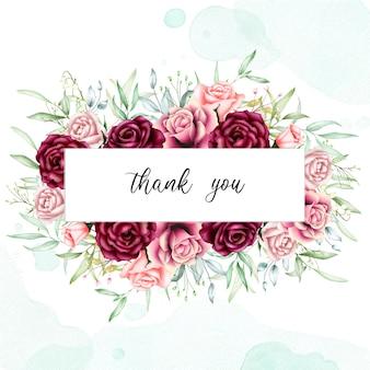Lindo cartão floral com mensagem de agradecimento