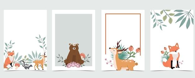 Lindo cartão postal de floresta em branco com veado e urso
