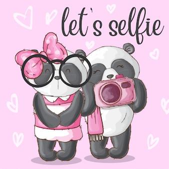 Lindo casal animal panda-vetor