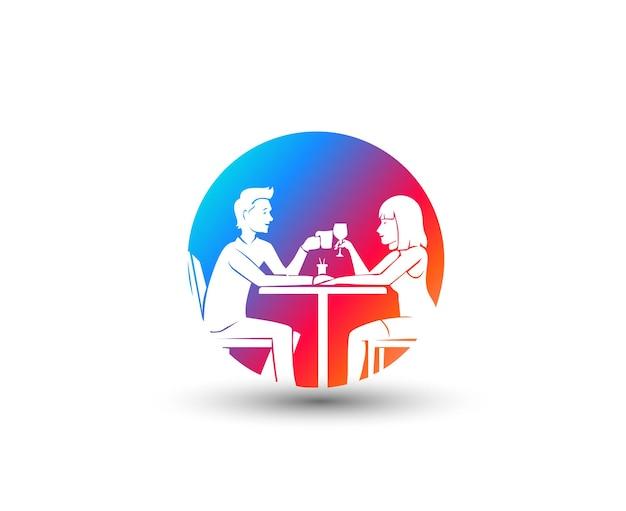 Lindo casal apaixonado, namoro ilustração vetorial. amo o casal no restaurante - aniversário de namoro, ilustração vetorial.