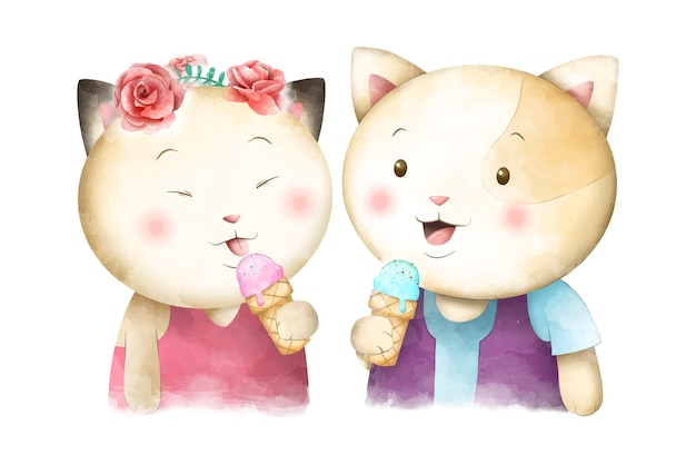 Lindo casal aquarela gato comendo sorvete vetor premium