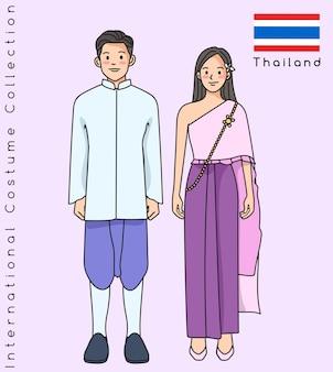 Lindo casal asiático com roupas tradicionais