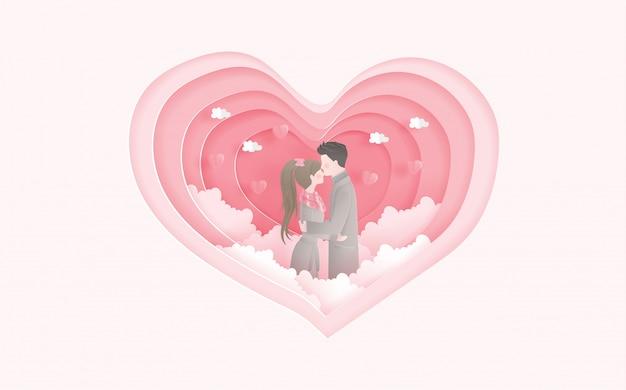Lindo casal com forma de coração. cartão do dia dos namorados e publicidade de viagens para o casal.