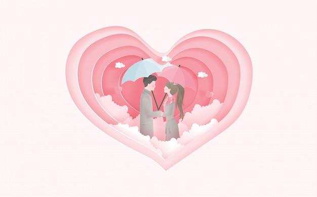 Lindo casal com forma de coração. cartão do dia dos namorados