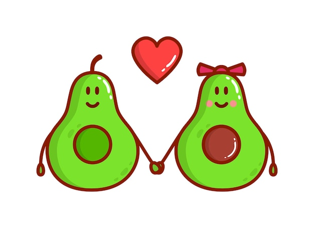 Lindo casal de abacate feliz e sorridente apaixonado