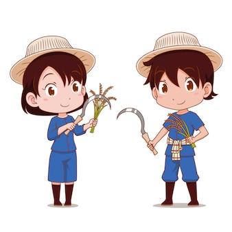 Lindo casal de agricultores tailandeses.