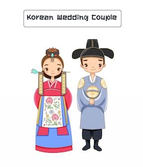 Lindo casal de casamento coreano em trajes tradicionais