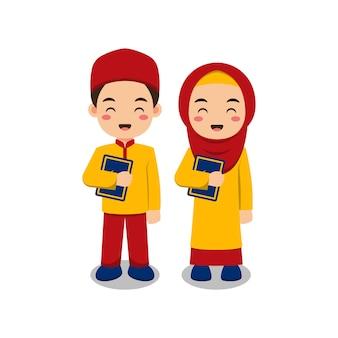 Lindo casal de crianças muçulmanas segurando al alcorão