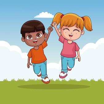Lindo casal de crianças nos desenhos animados do parque