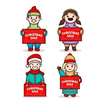 Lindo casal de filhos com banner de venda de natal