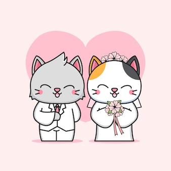 Lindo casal de gatos Vetor Premium