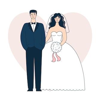 Lindo casal de noivos. noiva e noivo. ilustração em vetor doodle