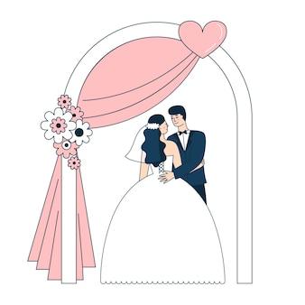 Lindo casal de noivos sob o arco. noiva e noivo. decoração para a celebração. ilustração em vetor doodle