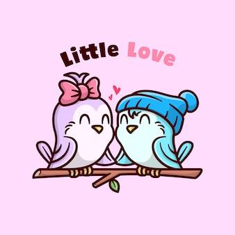 Lindo casal de pássaros caindo lindamente e segurando as mãos
