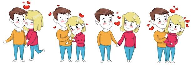 Lindo casal desenhado à mão no dia dos namorados