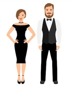 Lindo casal em roupa de noite estilo oficial. senhora de vestido preto e homem de colete e arco. ilustração vetorial