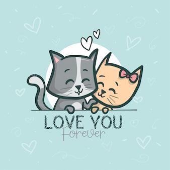Lindo casal gatos ilustração de fundo