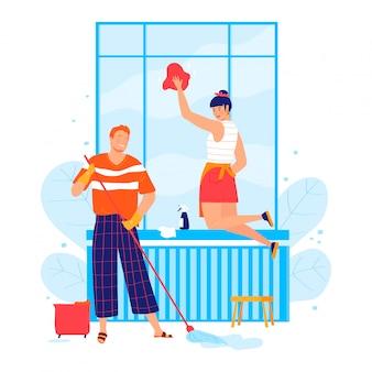 Lindo casal jovem, feminino masculino personagem limpar quarto isolado no branco, ilustração dos desenhos animados. pessoa junto lava janela.