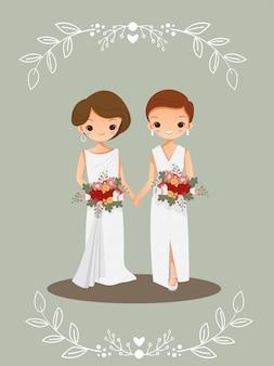 Lindo casal lgbt no cartão de convite de casamento