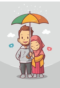 Lindo casal muçulmano com guarda-chuva