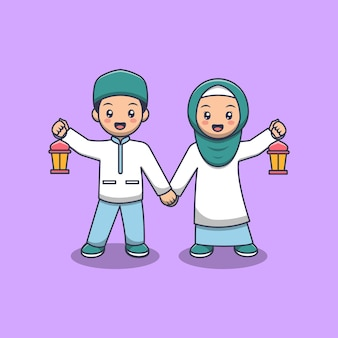 Lindo casal muçulmano segurando uma lanterna