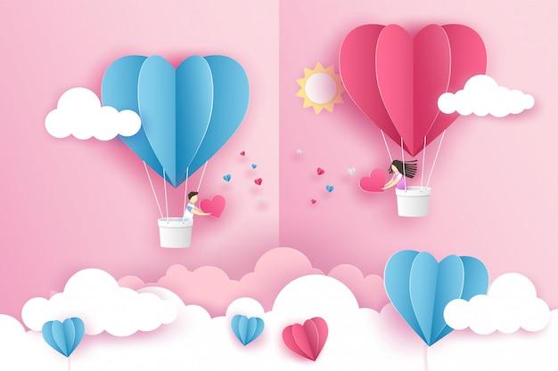 Lindo casal no coração de balão origami rosa voando no céu sobre a nuvem no dia dos namorados.